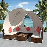 Tuduo Garten-Lounge-Set 34-tlg. mit Sonnendach Gartengarnitur Poly Rattan Braun