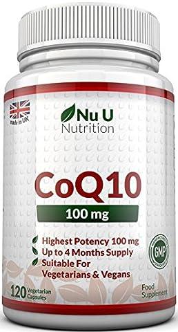Coenzyme Q10 100mg- 120 CoQ10 Gélules - Compléments alimentaires de Nu U Nutrition