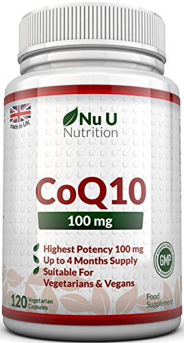 CoQ10 100mg, 120 Coenzyme Q10 Capsules by Nu U Nutrition Test