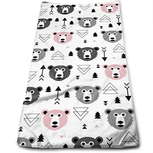 Geometric Grizzly Bear Woodland Illustration Pattern Pink_6066 Microfiber Bath Towels,Soft, Super Absorbent and Fast Drying, Antibacterial, Use for Sports, Travel, Fitness, Yoga 12 * 27.5 Inch -