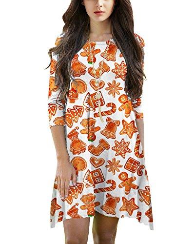 Femmes Mini Robes Noël Arbres Bonhomme De Neige Imprimer Manche Longue Évasé Robe Haut Orange