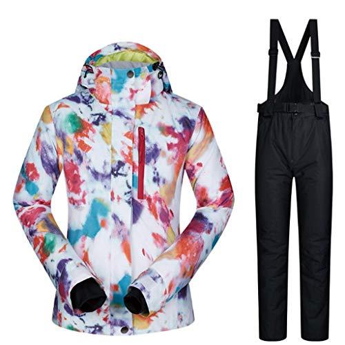 Zlw-shop Schneeanzüge Skianzug Winterbekleidung Mode Damen High wasserdicht Winddicht Snowboard-Bunte gedrucktes Ski-Jacke und Hose Skianzug (Color : Black, Größe : L)