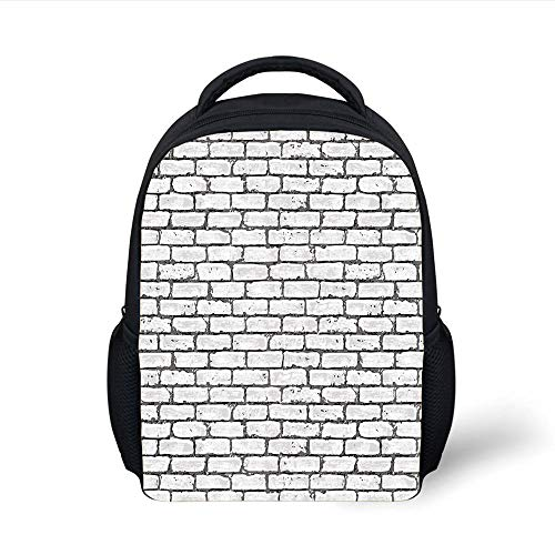 Kids School Backpack Grey and White,Grunge Brick Wall Background Urban Architecture Building Modern City Life Graphic Decorative,Grey Plain Bookbag Travel Daypack - Wall Brick Graphics
