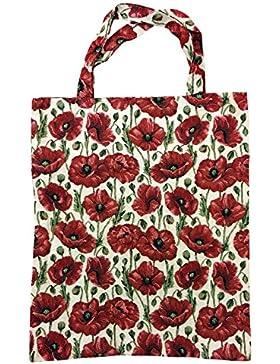 Einkaufstasche, Stofftasche Leinen 40 x 32cm, Motiv roter Mohn, Einkaufsbeutel Gobelin-Stil