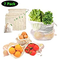 WenderGo Reusable Mesh Produce Bags, Organic Cotton Washable Lightweight Durable Bags for Grocery Storage Fruit Vegetable Toys