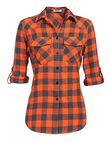 Hemd Kariertes Damen Bluse Karohemd Langarm Baumwolle V-Ausschnitt Casual Boyfriend Blusenshirt mit Einstellbare Ärmeln Orange Karierte