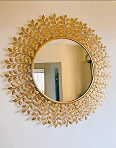 Furnish Craft Leaf Designed Sculpture Wall Mirror for Home Decor, Living Room, Bedroom, Bathroom Golden Leaf -29 Inches (Upgraded)