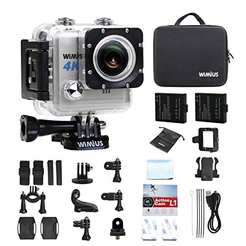 WiMiUS L1 Action Cam 4K Actioncam Wifi Action Kamera 20MP HD Action Camera 170° Weitwinkel 2 Zoll 30M Wasserdichte Sport Camera mit 2 Akkus (Silber)