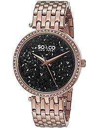 Con el fin de y Co de Nueva York con el reloj del cuarzo de las mujeres de rayas de color negro esfera analógica y de oro rosa y pulsera de acero inoxidable 5080,4