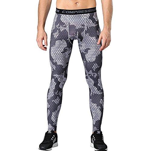 1Bests Männer Sportbekleidung Kompression Fitness Elastizität Hosen Basketball Lauf Workout Strumpfhosen Basisschicht Trockene Leggings Hosen (Blackish green, S)