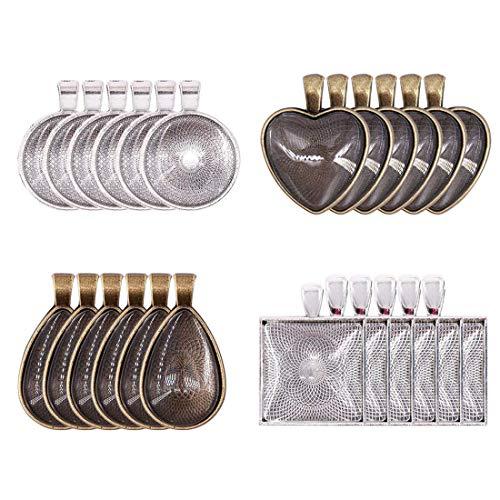 nhänger Tabletts+ 24 Stück Glas Kuppel Pendant Trays Transparent Klar Glas Cabochon Kuppel mit Anhänger Lünette (Anhänger Tabletts + Cabochon Dome) ()