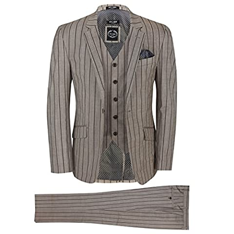 XPOSED Mens Brown 3 Piece Pinstripe Cotton Linen Blend Tailored Fit Vintage Suit Smart Casual [Brown,Chest UK 50 EU 60,Trouser 44