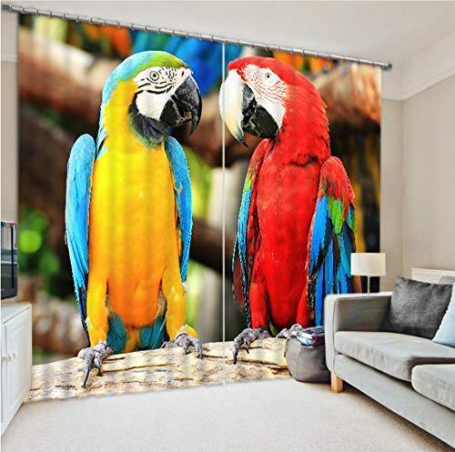 WKJHDFGB Papagei Digital Art Personalized Custom Vorhänge Digital 3D Shading Zweige Auf Das Endprodukt 215X320Cm