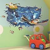 3D Schildkröte Gruppe Wandaufkleber (Abnehmbar, Wasserdicht, Grün) für Wohnzimmer Schlafzimmer Büro Wohnheim Hintergrund Dekoration,Mehrfarben