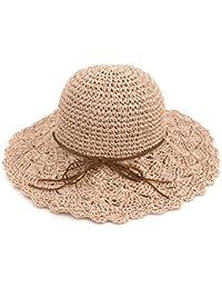 ea8cceb798ee4 Zhuhaitf Sombrero de paja Plegable Redondo de las Mujeres Gorro Grande de  Playa Brim para Vacaciones
