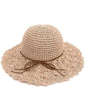 Zhuhaitf Sombrero de paja Plegable Redondo de las Mujeres Gorro Grande de Playa Brim para Vacaciones de Verano...