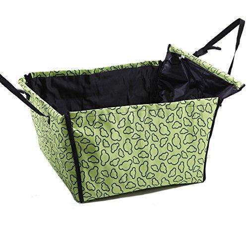 Autositz Hund 60x50x35 cm Hundesitz Auto-Schutz Hundekorb für Rückbank Transporttasche Schondecke Träger-Gurt verstellbar wasserfest sicherer Transport für Katze Haustier hell grün Wölkchen