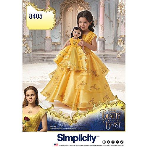 Simplicity 8405 Muster Disney Die Schöne und das Biest Kostüm für Kinder und Puppe, Papier, Weiß, 22 x 15 x 1 cm (Kostüm Muster Für Kinder)