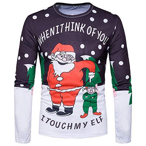 FRAUIT Weihnachten 3D-Druck Ugly Herren Langarmshirt Weihnachten Bluse Rundhals Weihnachtspullover Langarm T-Shirt Slim Fit Christmas 3D Weihnachtsbaum Druck Herbst Oberteile