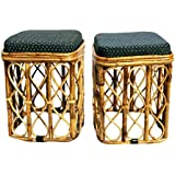 All INDIA HANDICRAFTS Cane Stools (Brown) - 2 Pieces Set with Cushion