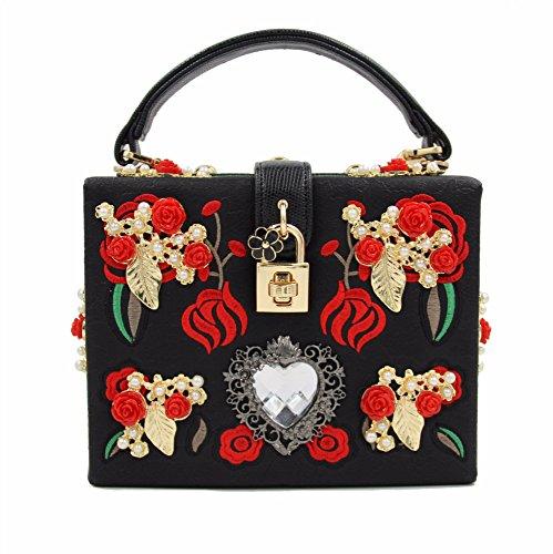 GJJ Heavy Duty Bestickte Dinner Bag Luxus Metall Rose Geschnitzte Diamant Tote Bag Schulter Umhängetasche,schwarz,A -