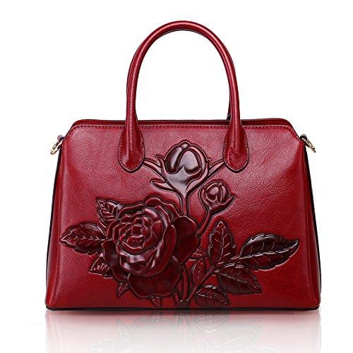 APHISON Damen Prägedruck Lederhandtasche Handtaschen Leder Schultertaschen Tote Shopper Taschen Henkeltasche Umhängetasche Schulterbeutel