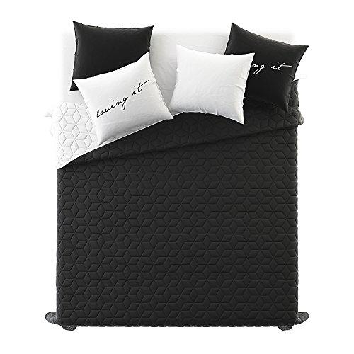 Tagesdecke Steppdecke Größe: 200 cm x 220 cm Bettüberwurf Muster NEXT doppelseitig: weiß + schwarz