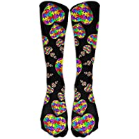 pigyear888 Autism Awareness Puzzle Heart Casual Unisex Sock Knee Long High Socks Sport Athletic Crew Socks One Size