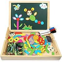 Lavagna Magnetica Puzzle Legno Bambini Infinitoo Giochi Bambini Puzzle Magnetico Doppio Lato Giochi Educativi Creativi Costruzioni per Bambini 3 Anni (Colorato)
