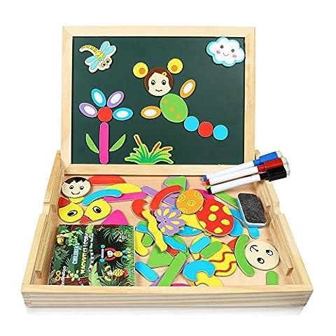 Puzzles en Bois Magnétique | Infinitoo Jouet Educatif et Créatif coloré avec Tableau à Double Face Magnétique | Planche à Dessin Blanc et Noir Réglable | Graffiti et Création pour Enfants 3 Ans et