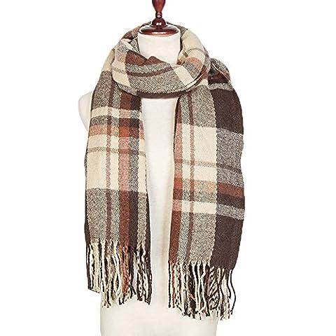 Yidarton XXL Damen Schal Oversized Herbst Winter Schal klassische Kariert Schal Mit Quasten Stola (Kaffee)