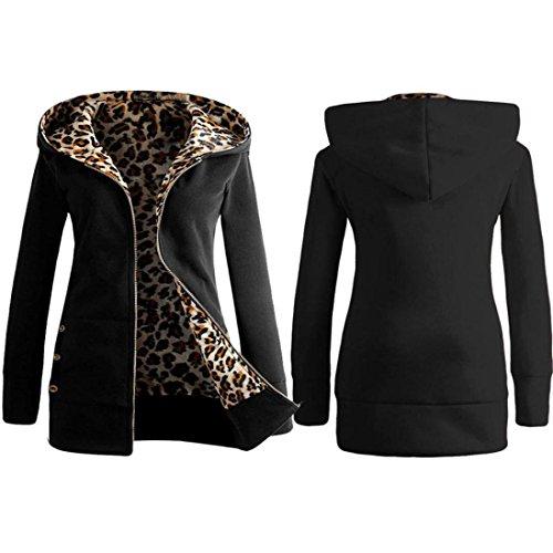 OHQ Femmes plus de velours épais Sweat à capuche léopard Fermeture à glissière manteau Pardessus Outwear Noir