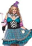 LEG AVENUE 85227X - Manic Mad Hatter Kostüm Set, 4-teilig, Größe 44-46, schwarz/blau