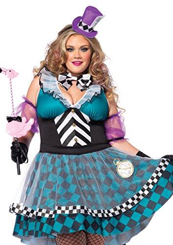 Manic Mad Hatter Kostüm Set, 4-teilig, Größe 48-50, schwarz/blau (Weibliche Plus-size-halloween-kostüme)