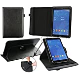 Emartbuy 360 Degree Rotating Stand Folio Wallet Case Cover For Voyo I8 Max 10.1 Inch Tablet PC (Size 9-10 Inch 360_Black Plain)