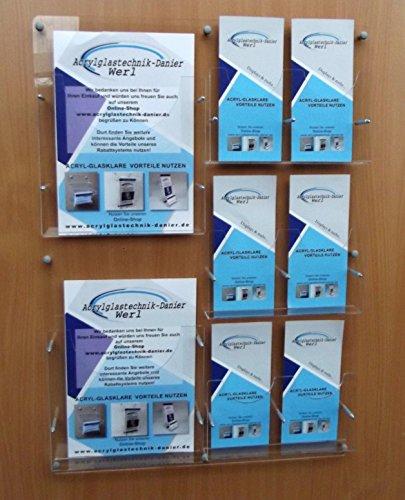 Prospekt Wandhalter 2 x DIN A4 und 6 x DIN LANG,Prospekt Halter,Flyerhalter
