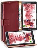 moex® Booklet mit Flip Funktion [360 Grad Voll-Schutz] für Samsung Galaxy Note 3 Neo | Geldfach & Kartenfach + Stand-Funktion & Magnet-Verschluss, Dunkel-Rot
