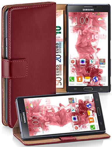 moex® Booklet mit Flip Funktion [360 Grad Voll-Schutz] für Samsung Galaxy Note 3 Neo | Geldfach und Kartenfach + Stand-Funktion und Magnet-Verschluss, Dunkel-Rot - 3 Wallet Galaxy Leather Case Note