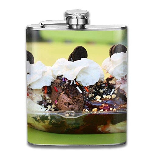 Chocolate Cookies Ice Cream Fashion Portable Stainless Steel Hip Flask Whiskey Bottle 7 Oz Steel Bar Cookies
