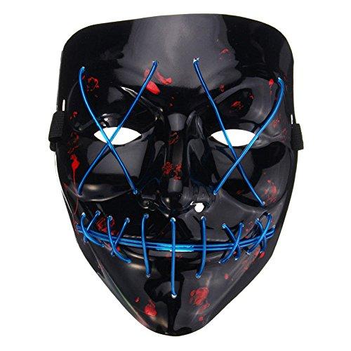 ZREAL LED Leuchten Blitz EL Draht DJ Party Raver Scary Maske Halloween Kostüm Cosplay (Halloween 2 Kostüm Die Purge)