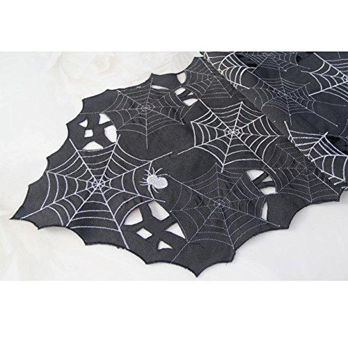 ZHUOXBU Halloween-Tag-Dekoration-modernes einfaches Art-erschreckendes schwarzes Spinnen-Muster Gedruckte rechteckige Tischdecken, 33 * 180cm