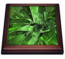 3dRose trv_19258_1 green Abstract Fractal Digital Work of Reflecting green Glass & Metal Trivet with Ceramic Tile, 8 x 8, Natural
