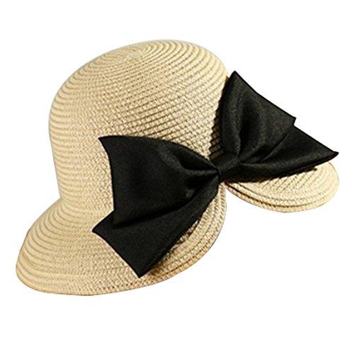 Leisial Mujer Sombrero Arco de Paja Playa Sombrero al Aire Libre Protector Solar Vacaciones Sombrero para Sol Verano Color Beige