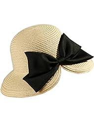 Leisial Mujer Sombrero Arco de Paja Playa Sombrero al Aire Libre Protector Solar Vacaciones Sombrero para Sol Verano Color Cafe