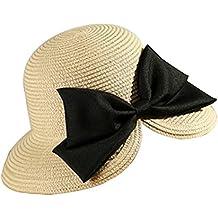 Leisial Mujer Sombrero Arco de Paja Playa Sombrero al Aire Libre Protector  Solar Vacaciones Sombrero para 3024e7e666e