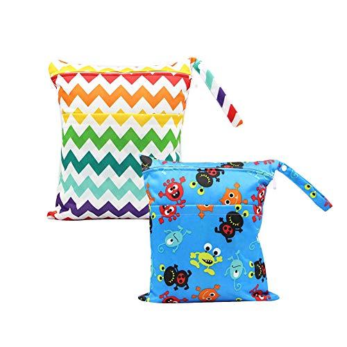 Baby Reisen Windeltasche Minuya Wickeltaschen für Nasse und Trockene Kleidung Reißverschluss Wasserdicht Waschbar Nasstaschen 2 Stück/Set -