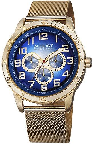 August Steiner Hommes de Multifonction Cadran Bleu doré Maille en Acier Inoxydable Montre Bracelet