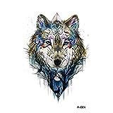 wyuen 5pcs nuevo diseño lobo tatuajes temporales Hombres falsos-Adhesivo decorativo para...