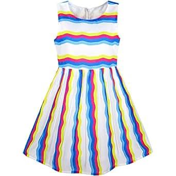 55d3fcf2f072e SUNNY FASHION Girls Dress Colorful Striped Party Sundress Age 8 ...