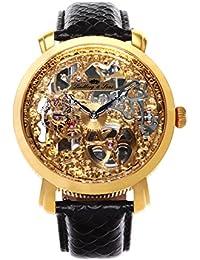 Lindberg & Sons SK14H060 - Reloj analogico de pulsera resistente al agua 5 ATM para hombre, cuerda manual y con correa de cuero negro, diseño esqueleto